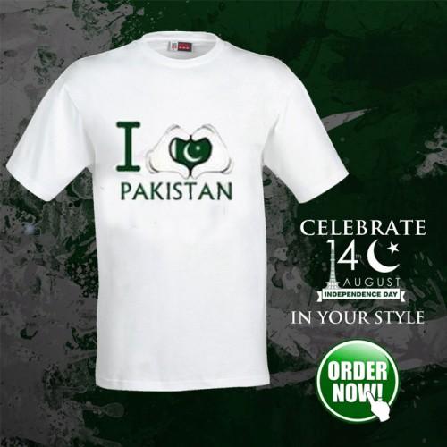 I Love Pakistani White Half Sleeves T-Shirt For Men