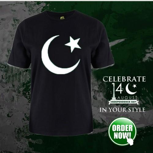 Pakistani Flag Black Half Sleeves T-Shirt For Men