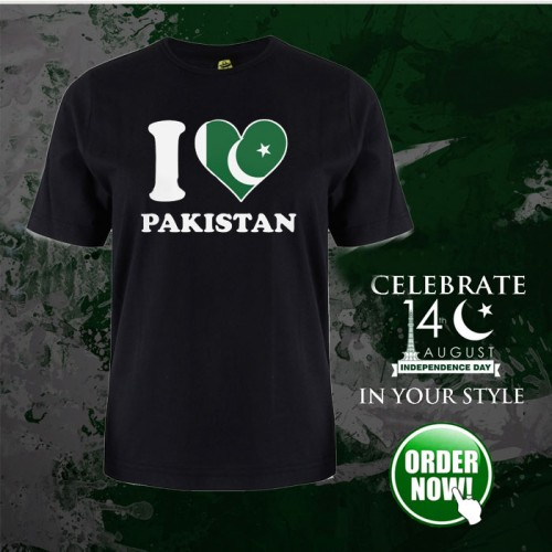 I Love Pakistani Black Half Sleeves T-Shirt For Men