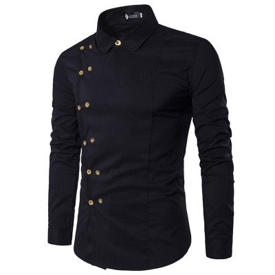 slim fit long sleeves man shirts high quality linen double breasted men shirts Black 1