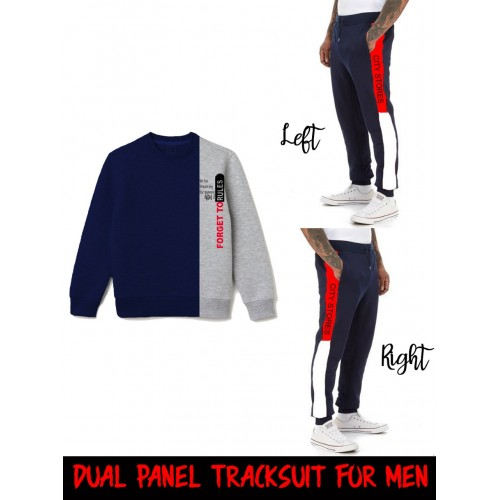 Navy Blue Dual Panel Winter Tracksuit For Men