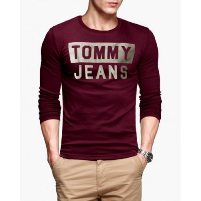 Tommy Jeans Maroon Full Sleeves T-Shirt For Men