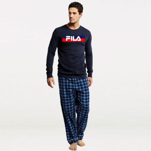 Check Pajama & Navy Blue Fila T-Shirt