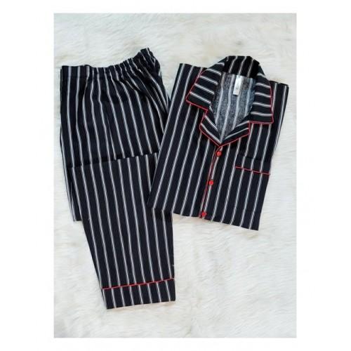 Black Striped Cotton Loungewear