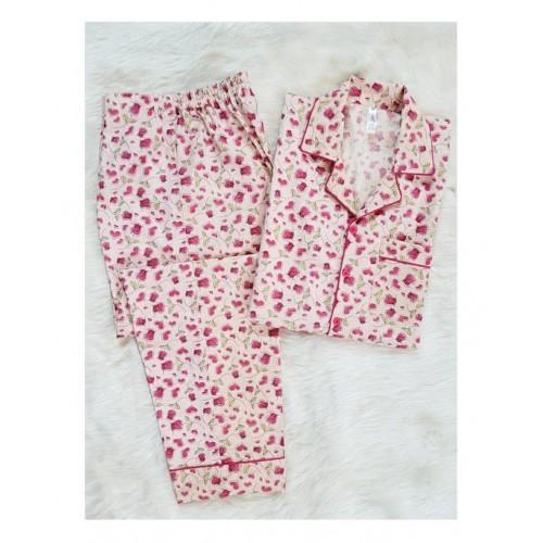 Pink Rose Cotton nightsuit for ladies