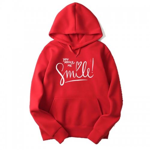 You make me Smile Premium Quality Red Hoodie For Ladies