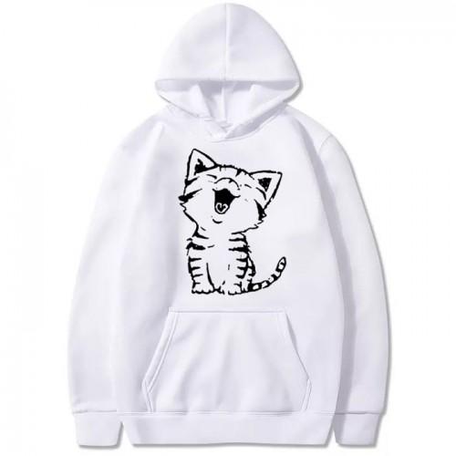Cat White Pullover Fleece Hoodie For Girls