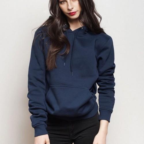 Plain Navy Blue Hoodie For Ladies
