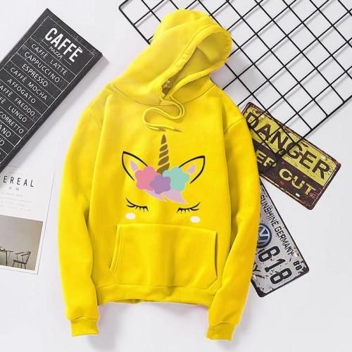Unicorn Yellow Fleece Hoodies For Women's