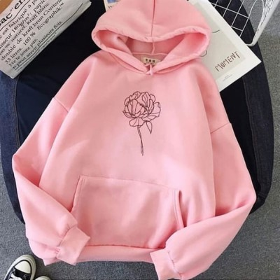 Flower Pink Pullover Hoodie For Women