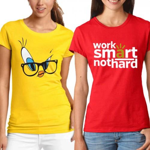 Bundle Of 2 Women's Printed T-Shirts D 10