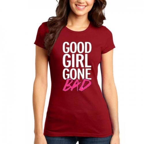 Good Girl Maroon Printed T-Shirt