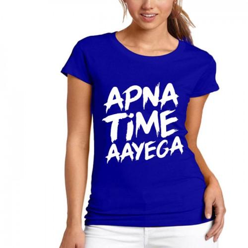 Apna Time Aayega Blue Printed T-Shirt