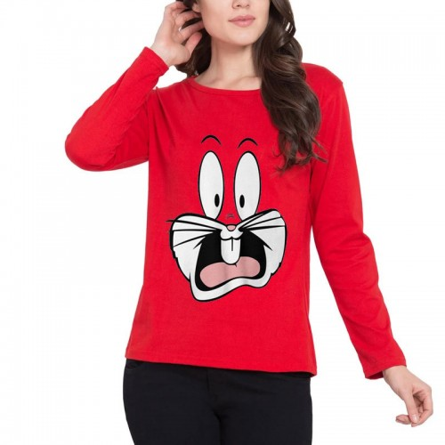 Bugs Bunny Full Sleeves T-Shirt in Red