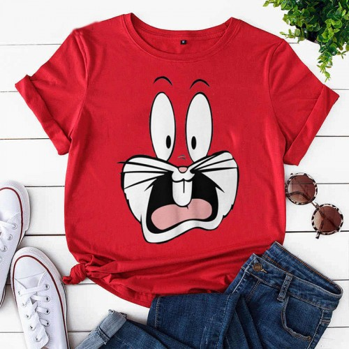 Bugs Bunny Red Half Sleeves T-Shirt For Girls