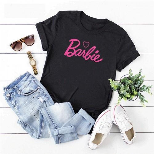 Barbie Black Half Sleeves Printed T-Shirt For Girls