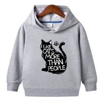 Cat Logo Gray Pullover Hoodie For Kids