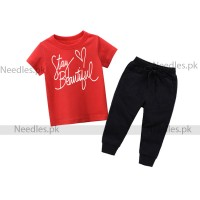 Stay Beautiful High Quality Red Summer Tracksuit For Kids