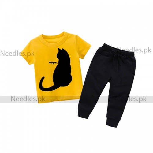 Nope Cat Yellow Summer Tracksuit For Kids