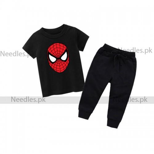 Spiderman Black Summer Tracksuit For Kids