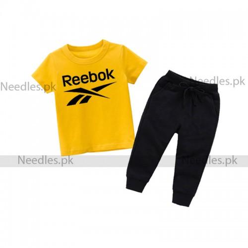 RBK logo Yellow Summer Tracksuit For Kids