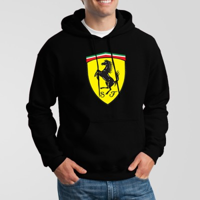Ferrari Logo High-Quality Black Hoodie For Men