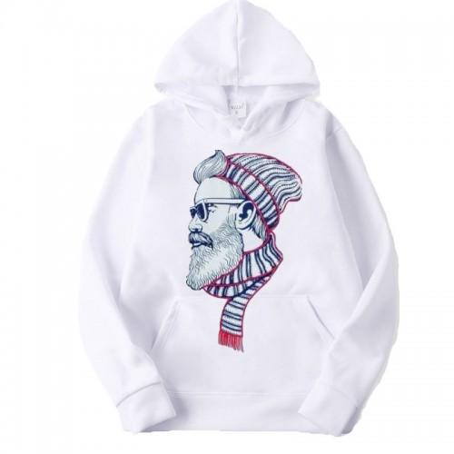 Beardman White Pullover Printed Hoodie