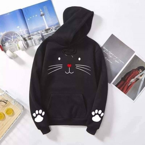 Meow Logo Black Pullover Hoodie For Ladies