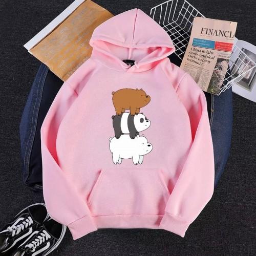 Bear Pink Fleece Hoodie For Girls