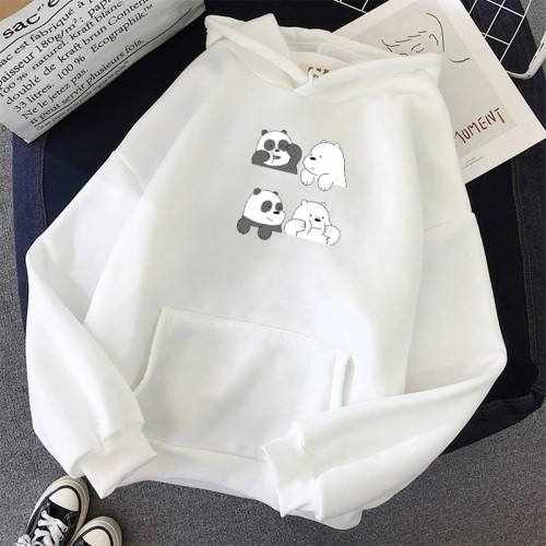 Bear White Pullover Hoodie For Ladies