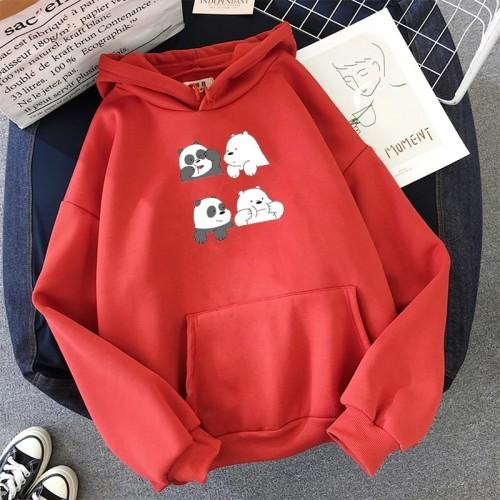Bears Red Fleece Printed Hoodie For Girls