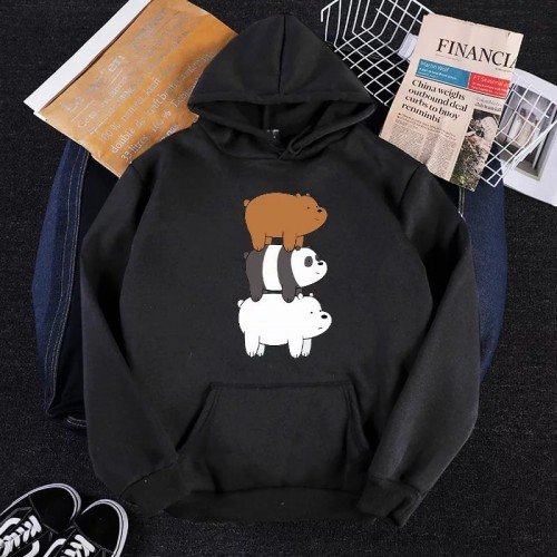 Bears Black Pullover Hoodie For Girls