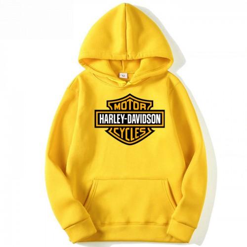 Harley Davidson Yellow Printed Hoodie For Men