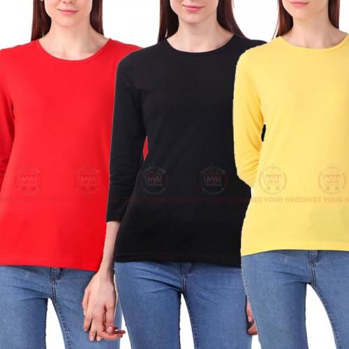 Bundle of 3 Full Sleeves T-Shirt For Girls