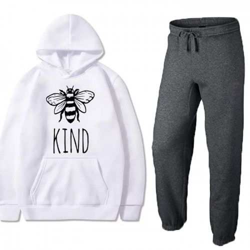 Be Kind White Winter Tracksuit For Girls