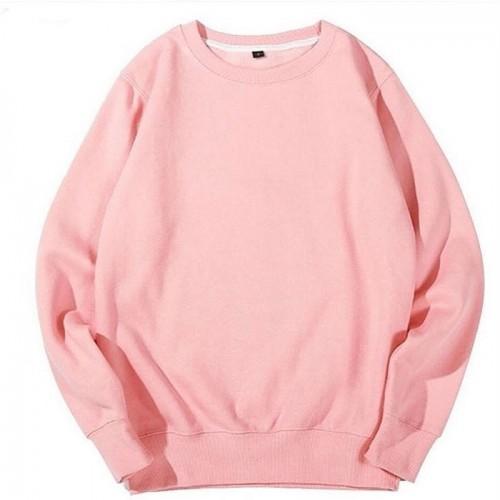 Basic Pullover Pink Sweatshirt For Girls