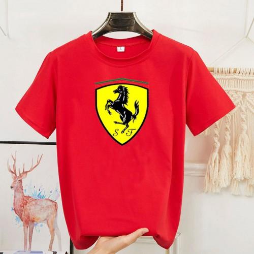 Fer Half Sleeves Round Neck T-Shirt in Red