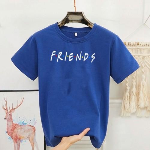 Friends Blue Round Neck T-Shirt For Ladies