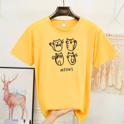 Meow Yellow Half Sleeves T-Shirt For Girls