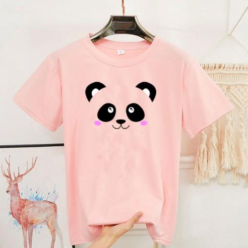 Pink Panda Half Sleeves T-Shirt For Women