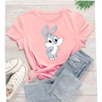 Bugs Bunny Round Neck T-Shirt in Pink