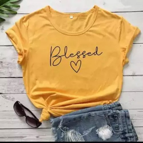 Blessed logo Printed T-Shirt in Yellow