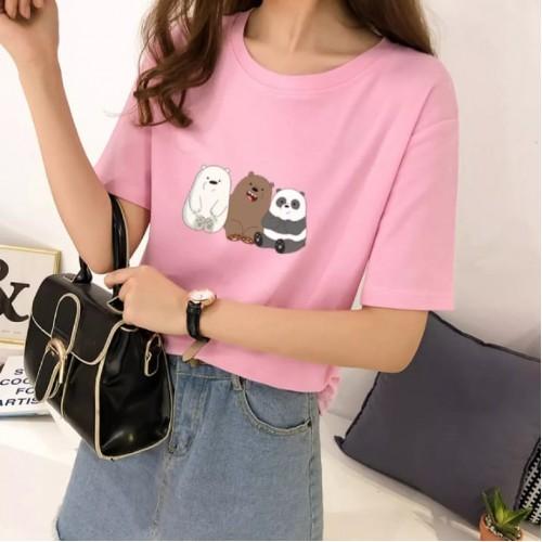 Bears Light Pink Round Neck T-Shirt