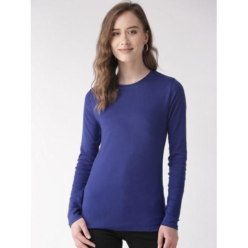 Blue Plain Half Sleeves T-Shirt For Ladies