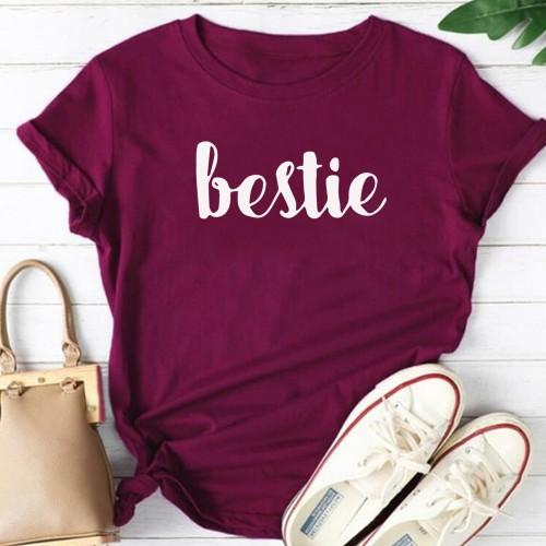 Bestie Half Sleeves T-Shirt in Purple