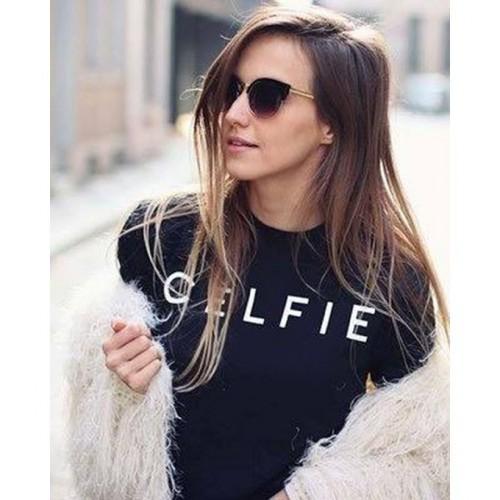 Celfie Black Printed Round Neck T-Shirt