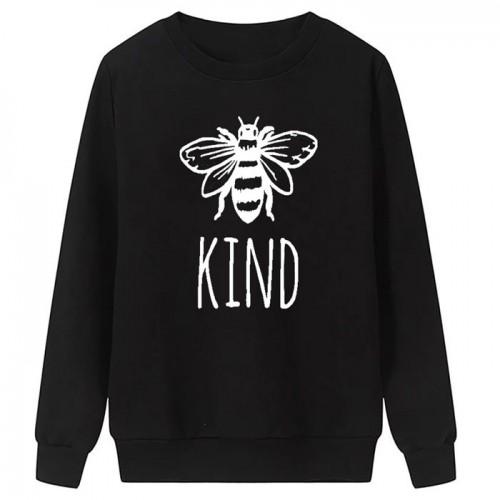 Bee Kind Black Fleece Sweatshirt For Women