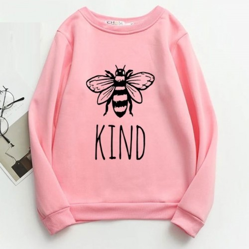 Bee Kind Pink Fleece Sweatshirt For Girls