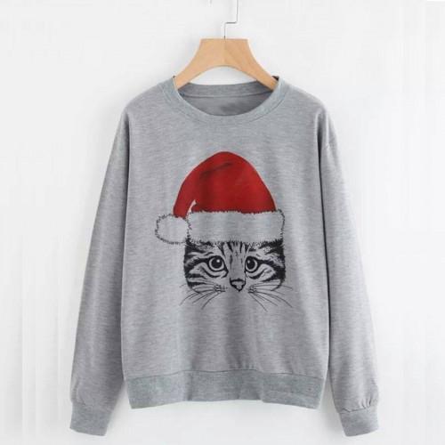 Christmas Cat Grey Sweatshirt For Ladies