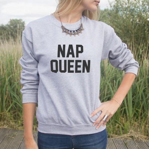 Nap Queen Grey Fleece Sweatshirt For Ladies